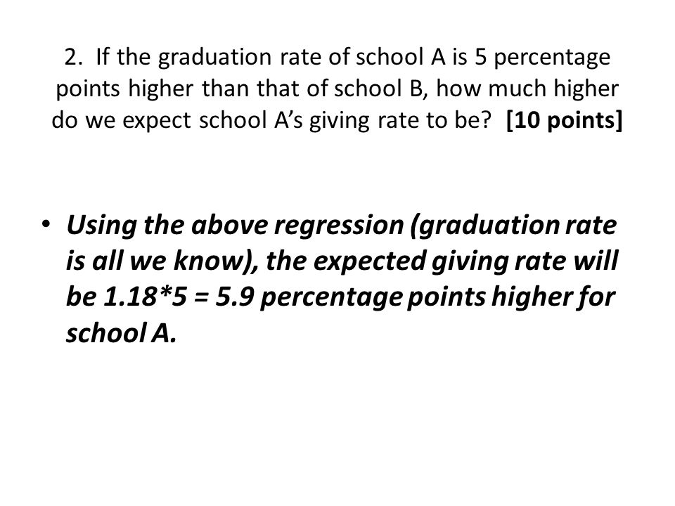2. If the graduation rate of school A is 5 percentage points higher than that of school B, how much higher do we expect school A's giving rate to be [10 points]